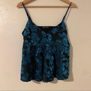 4 / $25 Turquoise Velvet Babydoll Floral Tank M